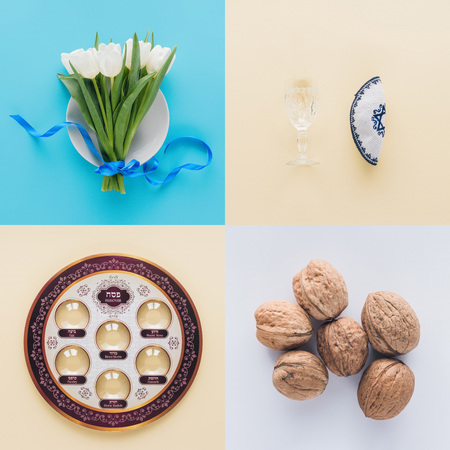 top view of tulips, traditional jewish plate and walnuts, Passover Haggadah concept
