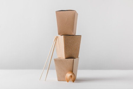 noodles boxes with chopsticks and chinese fortune cookie Stock Photo