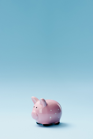 close up view of pink piggy bank isolated on blue 스톡 콘텐츠 - 100429551