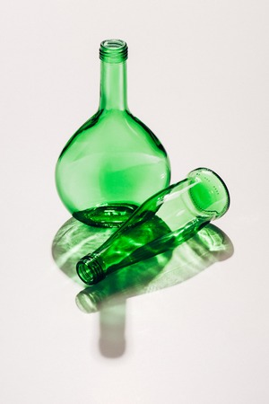 close up view of empty green glassware on whit ebackdrop Stock fotó