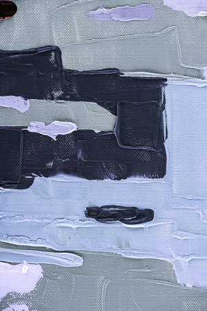 grey, black and blue brush strokes on abstract oil painting