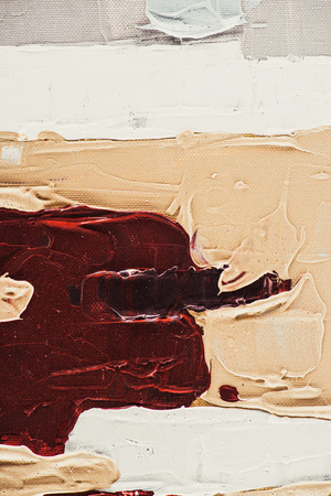 close up of beige and burgundy brush strokes on oil painting Stock Photo