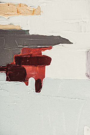 close up of beige and burgundy brush strokes on abstract oil painting Stock Photo
