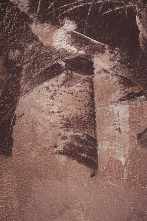 close up of brown brush strokes on abstract acrylic painting