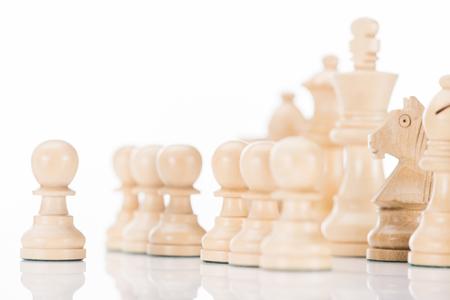 white wooden chess figures on white  Stok Fotoğraf