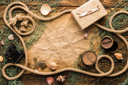 top view of blank crumpled paper with different exploration attributes Stock Photo - 101316618