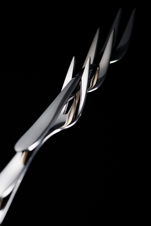 stainless forks with two tines isolated on black