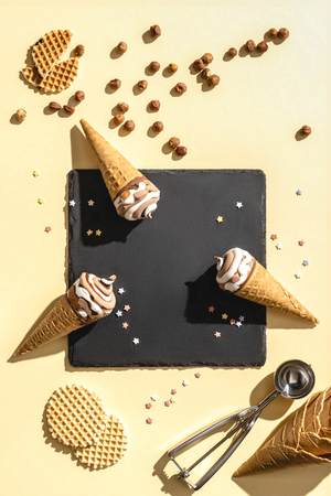top view of three ice cream on yellow Archivio Fotografico