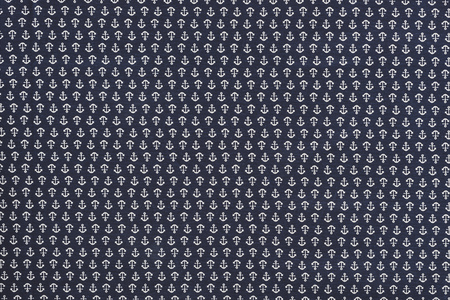 full frame of blue fabric with white anchors ornament backdrop Banco de Imagens