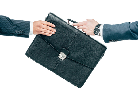 cropped view of businessmen holding briefcase, isolated on white