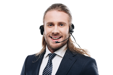 happy handsome call center operator with headset, isolated on white