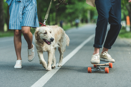young couple riding on board and walking with dog 写真素材