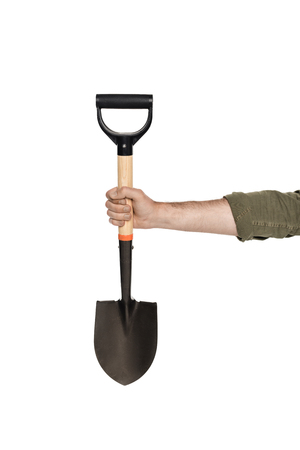 partial view of man holding shovel in hand isolated on white