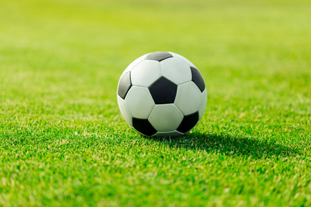close-up view of leather soccer ball on green grass 스톡 콘텐츠