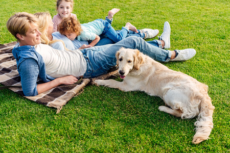 happy young family with golden retriever dog resting on grass at picnic Stock Photo