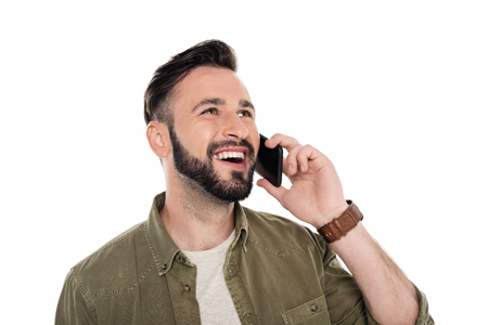 portrait of happy man talking on smartphone isolated on white Stock Photo
