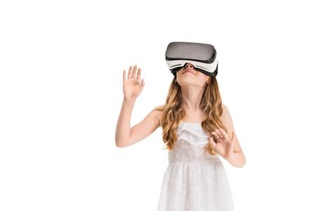 portrait of little girl wearing virtual reality headset isolated on white Reklamní fotografie