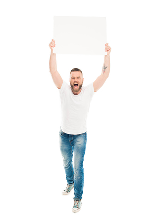 Aggressive bearded man holding blank banner above head, isolated on white