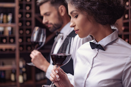 Two sommeliers, male and female tasting red wine in cellar
