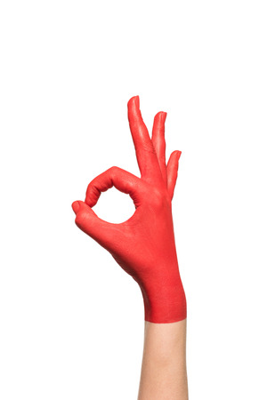 cropped view of hand in red paint, isolated on white Foto de archivo - 102193782