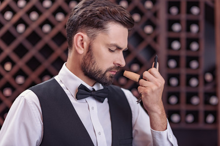 Close up of professional sommelier examining smell of wine cork in cellar