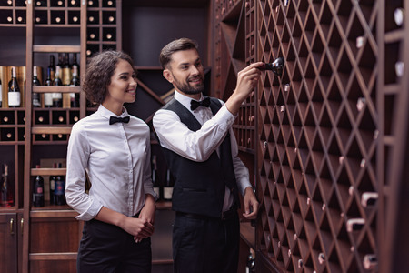 two young professional sommeliers choosing wine in wine cellar Banco de Imagens
