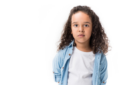 portrait of adorable african american girl looking at camera isolated on white 스톡 콘텐츠