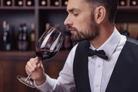 Young handsome man sommelier tasting red wine in cellar