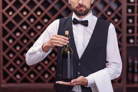 Portrait of handsome sommelier holding bottle of wine in cellar Banco de Imagens