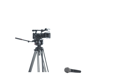 TV camera and microphone, isolated on white, media equipment concept