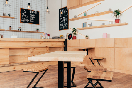 stylish interior of modern cafe with stylish wooden furniture 免版税图像 - 102358936