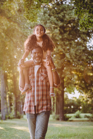 smiling african american grandfather caring his granddaughter on shoulders in park 写真素材 - 102359195