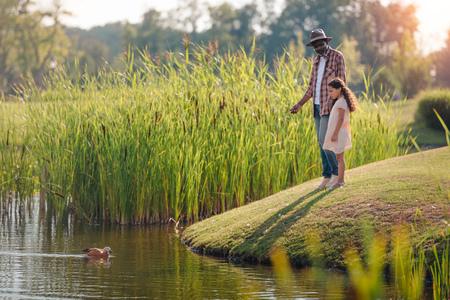 petite-fille afro-américaine et son grand-père nourrissant le canard sur le lac dans le parc