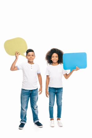 cute smiling african american kids holding blank speech bubbles isolated on white