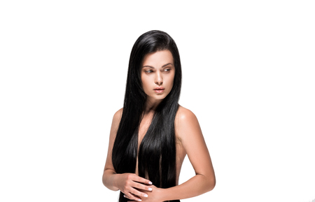 sensual woman with long brunette hair isolated on white Stock Photo