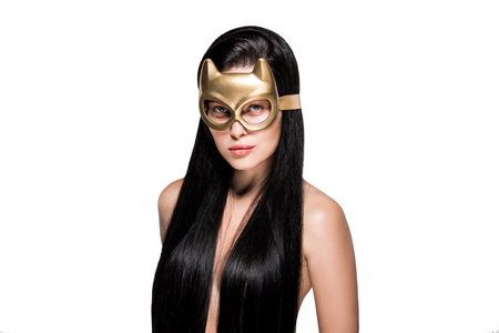 attractive woman in devil mask with long hair isolated on white