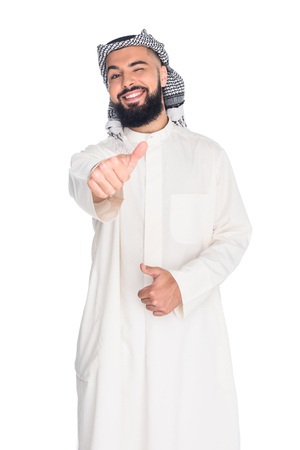 handsome muslim man showing thumb up isolated on white Imagens - 102325503