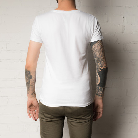 cropped shot of man in blank white t-shirt Stock Photo