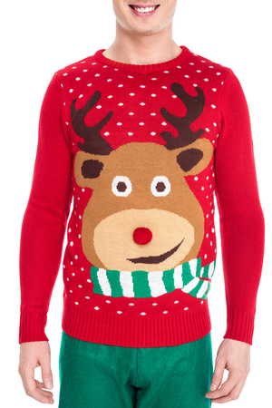 partial view of smiling man in winter sweater with deer illustration isolated on white
