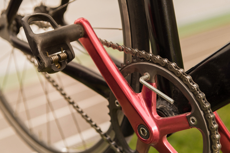 close up view of bicycle wheel, pedal and chain 写真素材 - 102347609