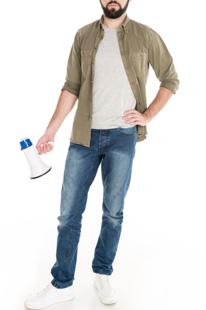 cropped view of man holding loudspeaker, isolated on white Stock Photo