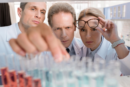Team of chemists in white coats, working with reagents in test tubes, in laboratory Stock Photo