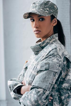 african american female soldier inmilitary uniform Archivio Fotografico