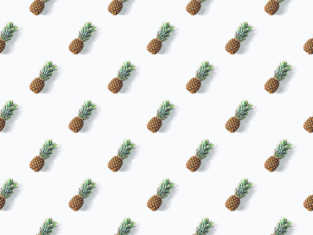 background from ripe fresh pineapples with shadows on white