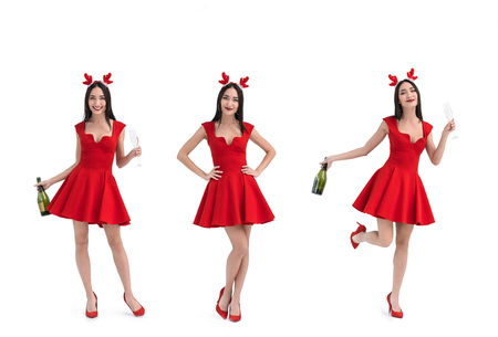 collage of asian woman in deer costume with champagne isolated on white