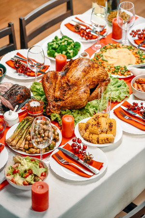 high angle view of served table with tasty dishes for christmas dinner Stockfoto
