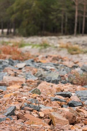 close-up shot of red and grey granite rocks
