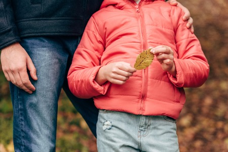 cropped shot of father and little daughter holding yellow leaf in autumn pak