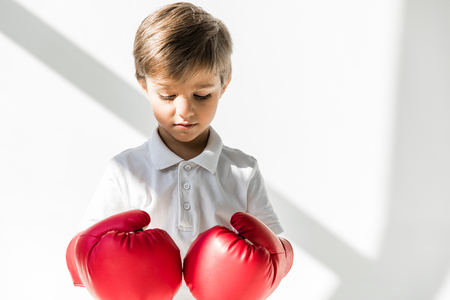 cute little boy in boxing gloves looking down on white 스톡 콘텐츠