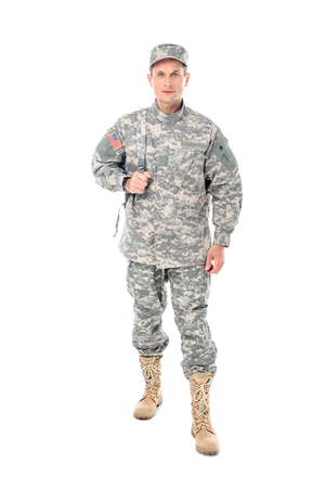 handsome military man in usa camouflage uniform isolated on white